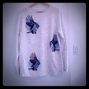 NWOT Light Grey Bird Sweater With Sequin Detail